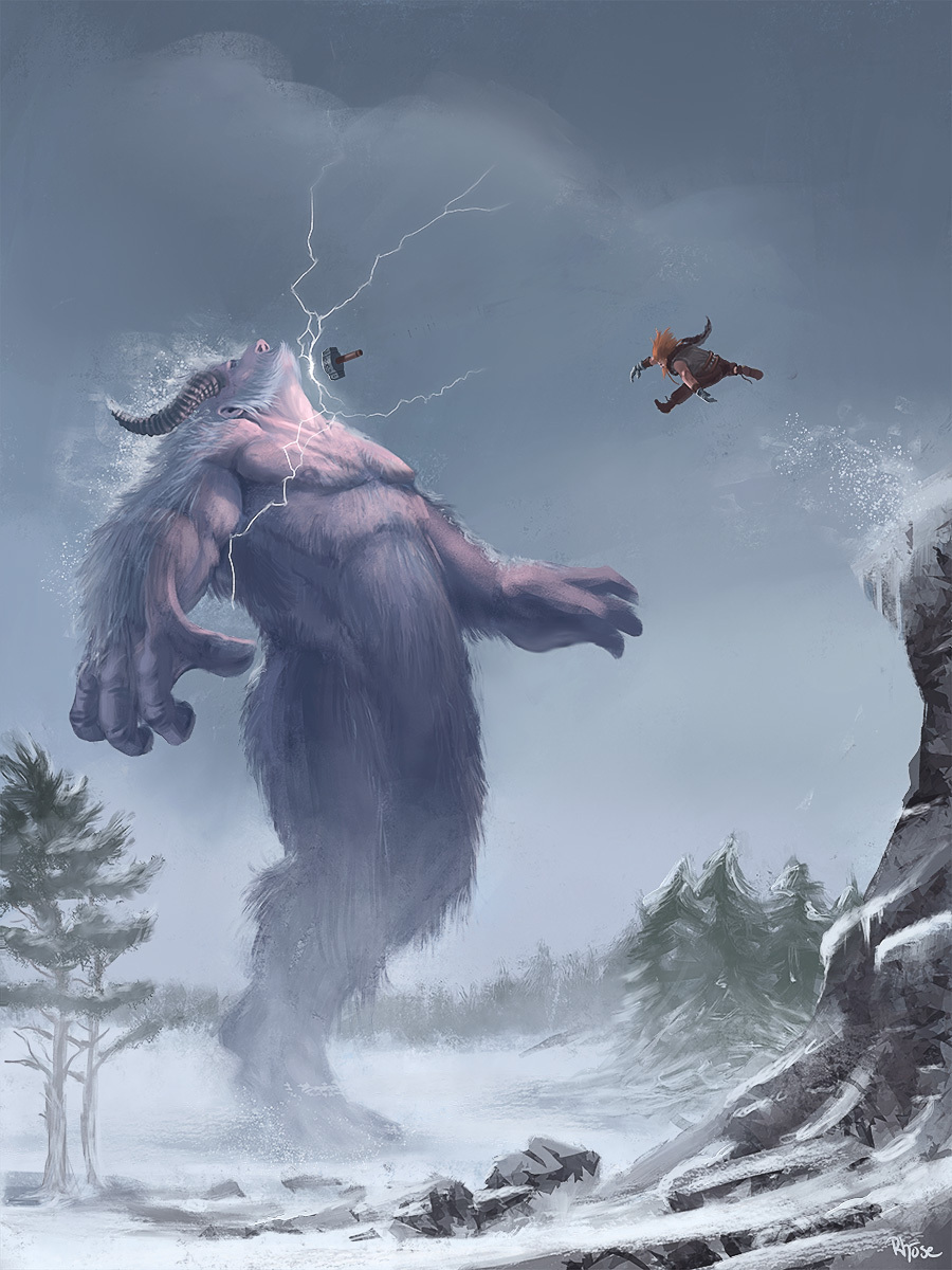 Thor, God of Thunder, slays a Frost Giant