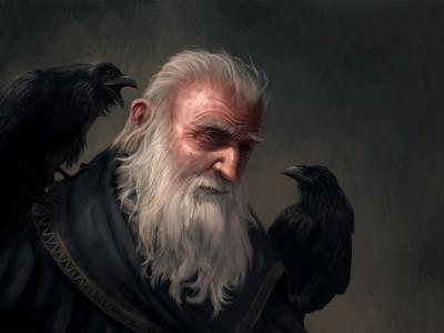 Odin, Huginn and Muninn